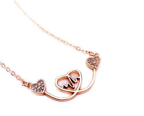 Heart to Heart Pendant Necklace Rose Gold