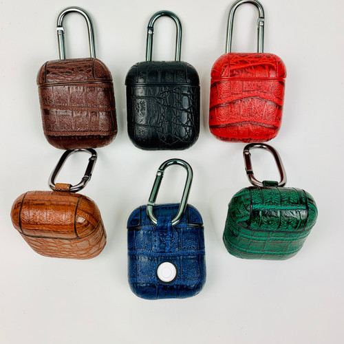 Reptile Croc Faux luxury Leather AirPods Case with Metal Hook
