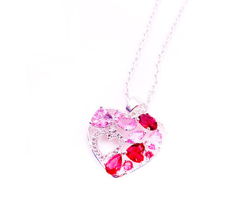Heart-in-Heart Love Special Pendant Pink For Valentince's Day Gift