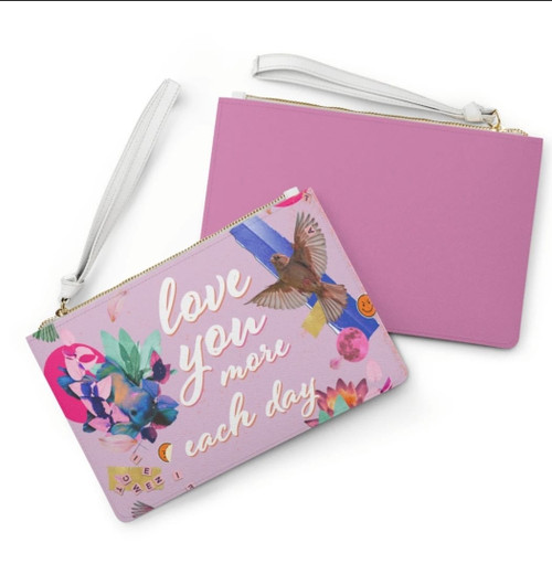 Love You More Each Day Floral Designed Zipped Clutch Bag
