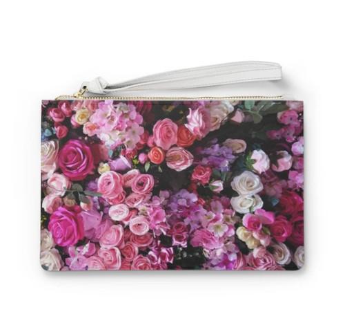 Floral Bouquet Designed Zipped Clutch Bag