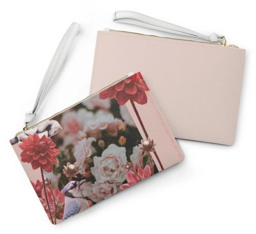 Floral Grunge Design Zipped Clutch Bag