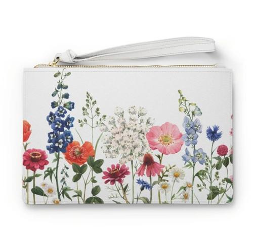 Multicolor Floral Designed Zipped Clutch Bag