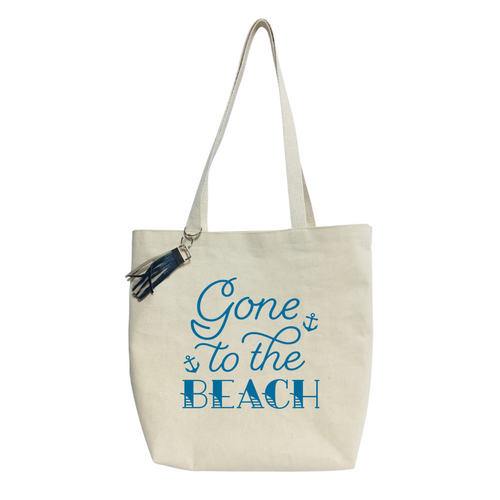 """16""""L x 16""""H x 4""""W Gone to the Beach Canvas Tote bag"""