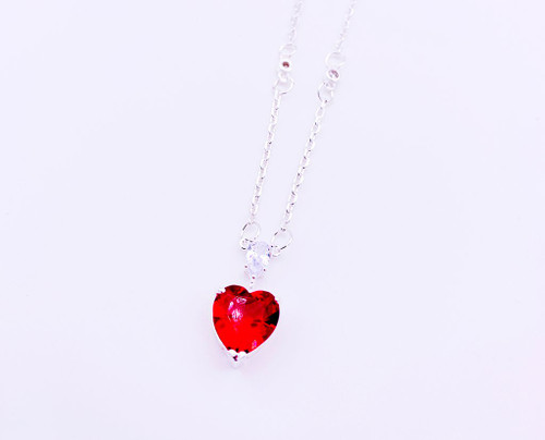 Heart-Go-Crazy Valentine Pendant Phenomenal Sparkling Necklace