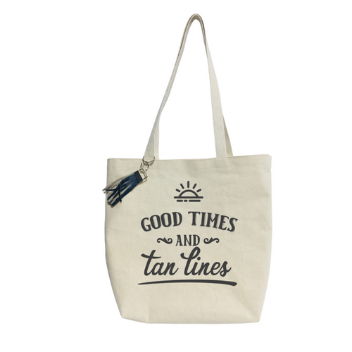 """16""""L x 16""""H x 4""""W Good Times and Tan Lines Canvas Tote bag"""