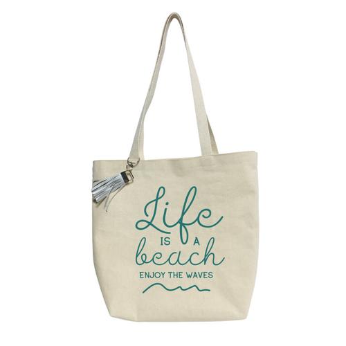 """16""""L x 16""""H x 4""""W Life is a Beach Canvas Tote bag"""