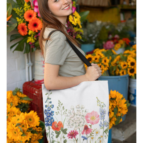 Double Sided Spring Floral Print Tote Bag