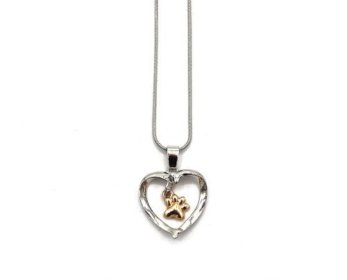 Paw 'n Heart Necklace Silver Toned Heart