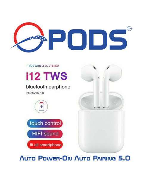 i12 TWS Bluetooth 5.0 Headphones with Silicone Case Included