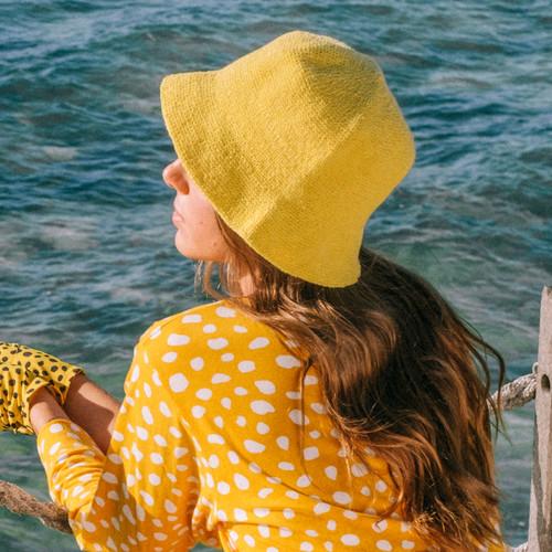 FLORETTE Crochet Bucket Hat in Yellow