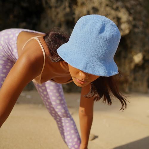 FLORETTE Crochet Bucket Hat in Periwinkle Blue