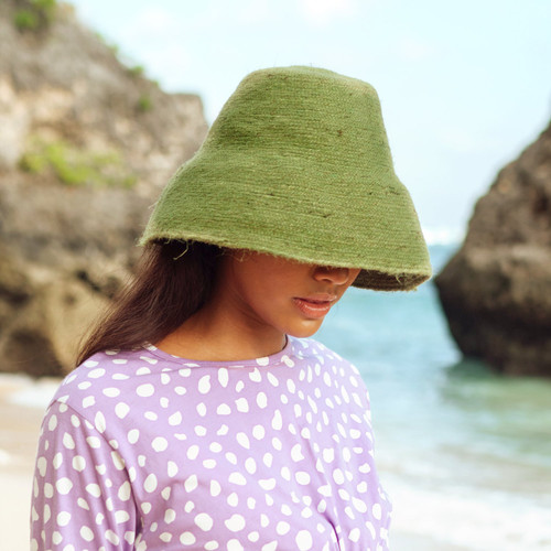 NAOMI Jute Bucket Hat in Matcha Green