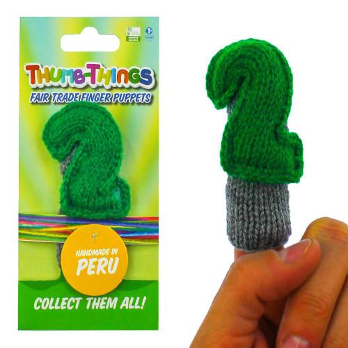 Handmade Educational Green Number Two Finger Puppet