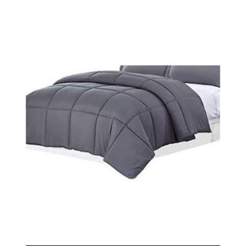 Dark Gray Medium Warmth Down Alternative Comforter Full Queen Size. 265982