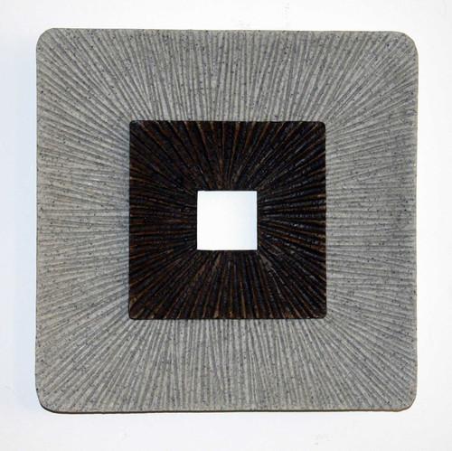 "1"" x 14"" x 14"" Brown & Gray, Square, Ribbed - Wall Art. 274774"
