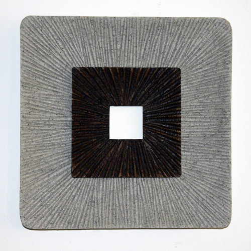 "1"" x 26"" x 26"" Brown & Gray, Encaved, Square, Ribbed - Wall Art. 274776"