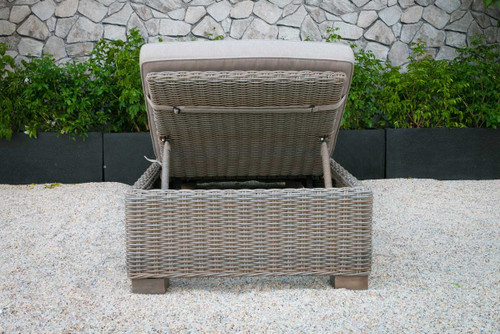 Adjustable Brown Rattan Cushioned Chaise Lounge. 282700