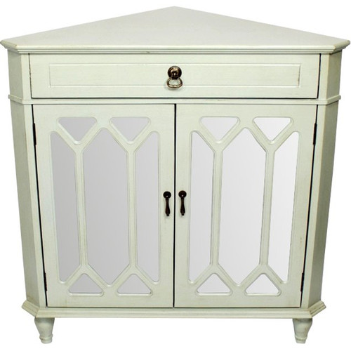 """31"""" X 17"""" X 32"""" Light Sage MDF  Wood  Mirrored Glass Corner Cabinet with a Drawer and  Doors. 291905"""