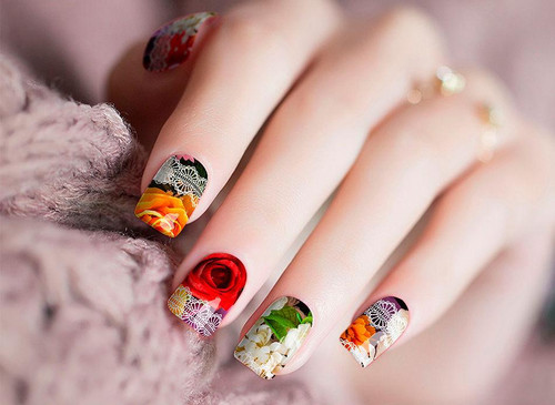 Rose Lace Nail Wraps Real Nail Stickers