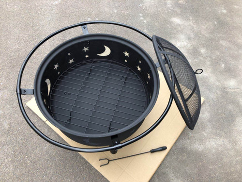 """30"""" Fire Pit with Charcoal Grill and Spark Screen. 322823"""