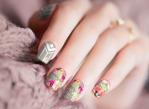 Floral Geometric Nail Wraps Real Nail Stickers