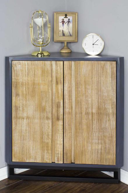 Red MDF Wood Metal Corner Cabinet with  Doors. 328721