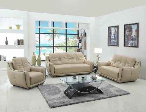 "108"" Elegant Beige Leather Sofa Set. 329506"