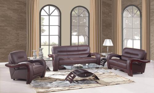 "105"" Glamorous Brown Leather Sofa Set. 329510"