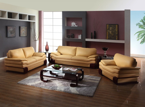 """112"""" Dazzling Brown Leather Sofa Set. 329538"""