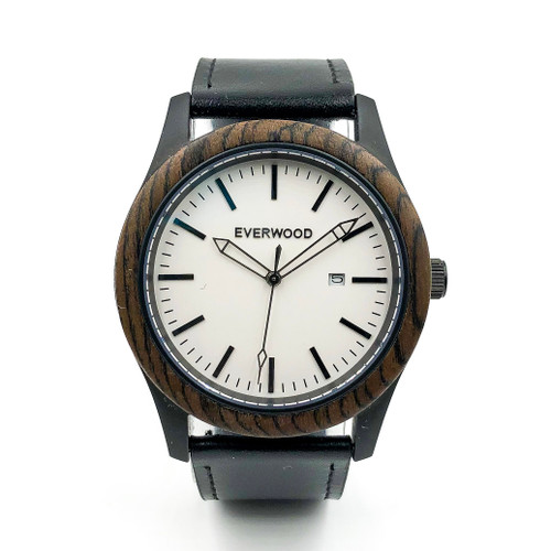 Inverness Walnut Black Leather & Hardened Mineral Crystal Watch