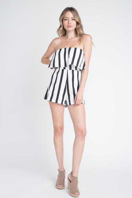 Women's Strapless Stripe Print & Pocket Romper