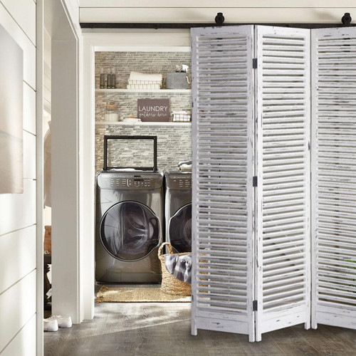 Distressed White Wood Finish 3 Panel Room Divider Screen. 342752