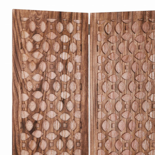 Stunning Carved Brown Wood Room Divider Screen. 342753