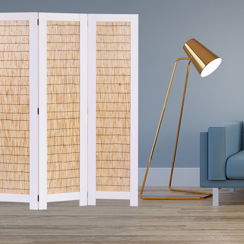 White and Natural 3 Panel Room Divider Screen. 342754