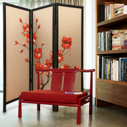 """60"""" x 1"""" x 63"""" Brown Fabric And Wood Blooming  3 Panel Screen. 342765"""