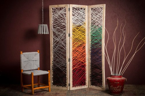 "61"" x 1.5"" x 72"" Multicolor Fabric And Wood Crisscross  Screen. 342767"