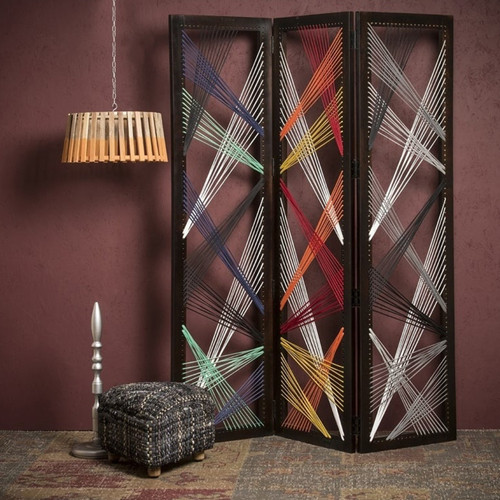 """61"""" x 1.5"""" x 72"""" Multicolor Fabric And Wood Traverse  Screen. 342768"""