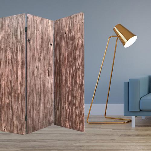 "53"" x 2"" x 71"" x 72"" Brown, Wood, Woodland - 3 Panel Screen. 342771"