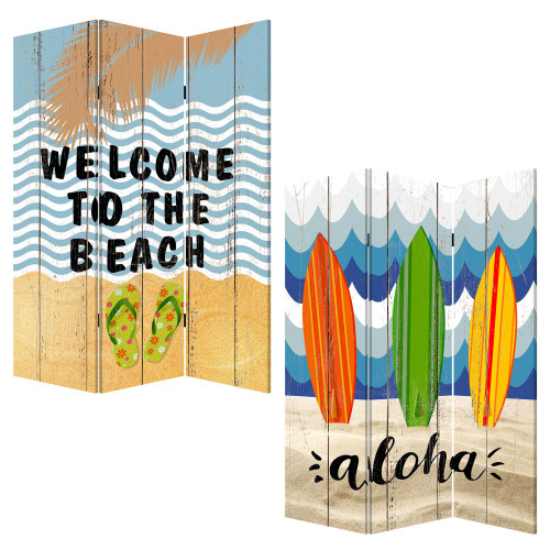 "48"" x 1"" x 72"" Multicolor, Canvas, Beach Treasures - 3 Panel Screen. 342777"