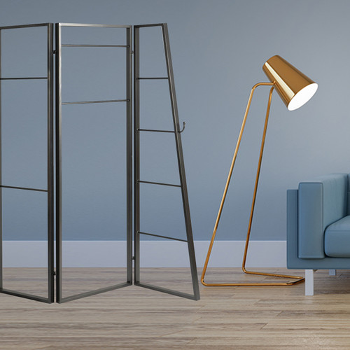 Contemporary Metal Coatrack 3 Panel Room Divider Screen. 342778