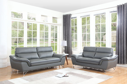 69'' X 36''  X 40'' Modern Gray Leather Sofa And Loveseat. 343870