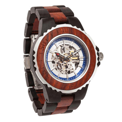 Men's Genuine Automatic Rose Ebony Wooden No Battery Needed Watches