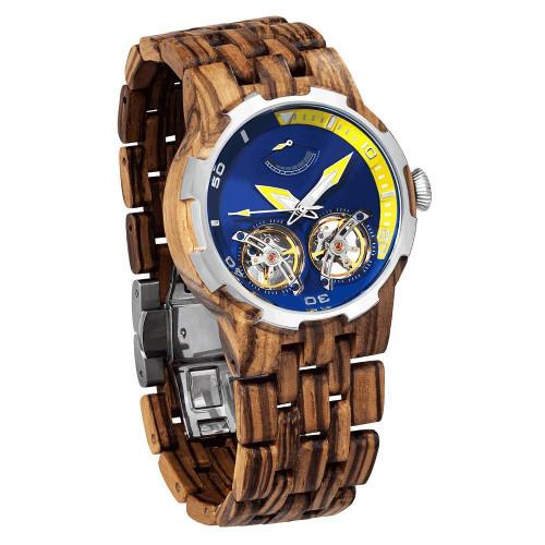 Men's Dual Wheel Automatic Zebra Wood Watch