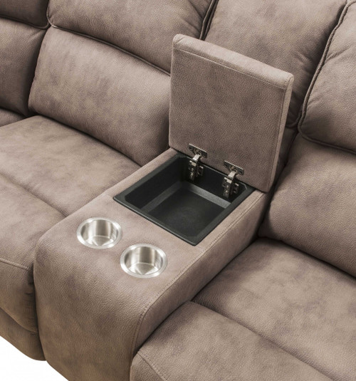"101"" X 86"" X 40"" Mocha Nubuck Upholstery Metal Reclining Mechanism Sectional Sofa (Power Motion & USB). 348639"