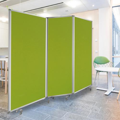 Green Rolling 3 Panel Room Divider Screen. 348667