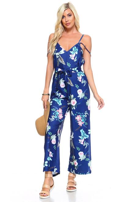 Women's Imported Floral Tie Tank Jumpsuit