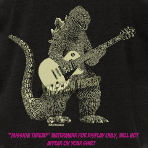 Godzilla Playing Guitar Super Soft T shirt