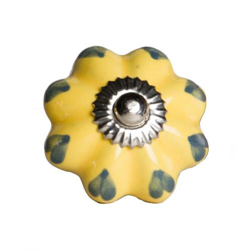 "1.5"" x 1.5"" x 1.5"" Ceramic Metal Yellow and Green 12 Pack Knob. 358124"