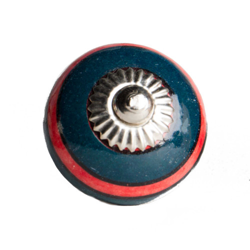 """1.5"""" x 1.5"""" x 1.5"""" Ceramic Metal Navy and Red 12 Pack Knob. 358127"""